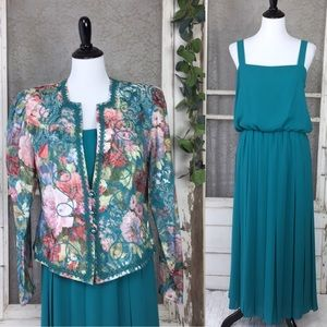 Vintage Tapestry Style Blazer & Pleated Dress Set